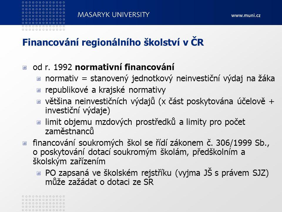 Financování regionálního školství v ČR od r. 1992 normativní financování normativ = stanovený jednotkový neinvestiční výdaj na žáka republikové a kraj
