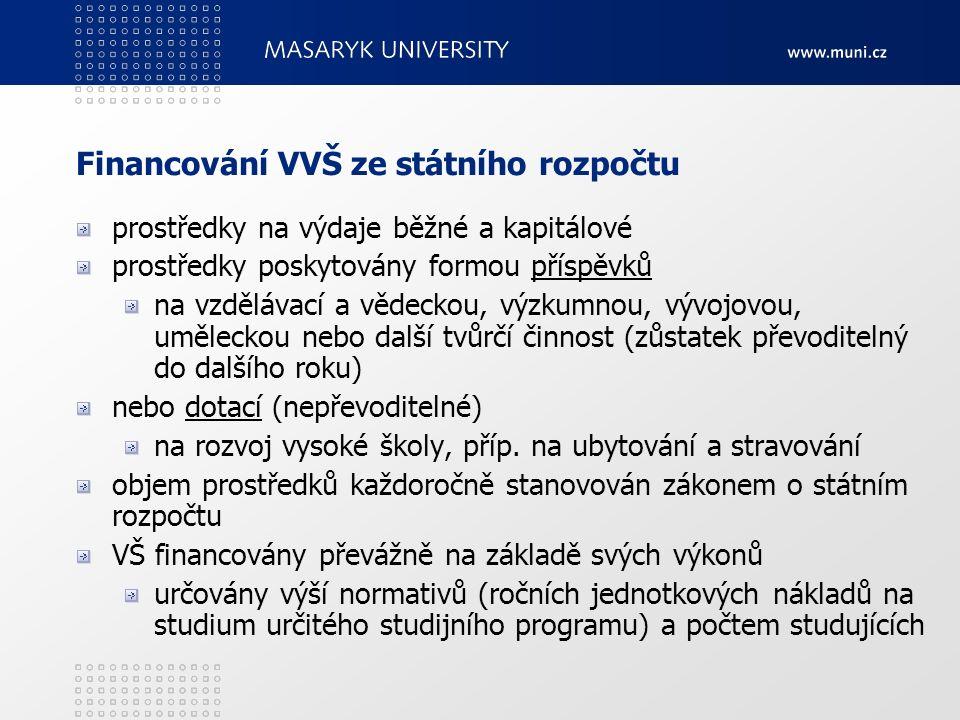 Financování VVŠ ze státního rozpočtu prostředky na výdaje běžné a kapitálové prostředky poskytovány formou příspěvků na vzdělávací a vědeckou, výzkumn