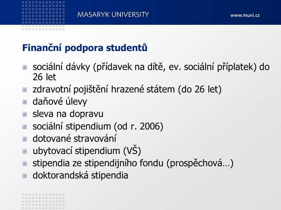 Finanční podpora studentů sociální dávky (přídavek na dítě, ev. sociální příplatek) do 26 let zdravotní pojištění hrazené státem (do 26 let) daňové úl