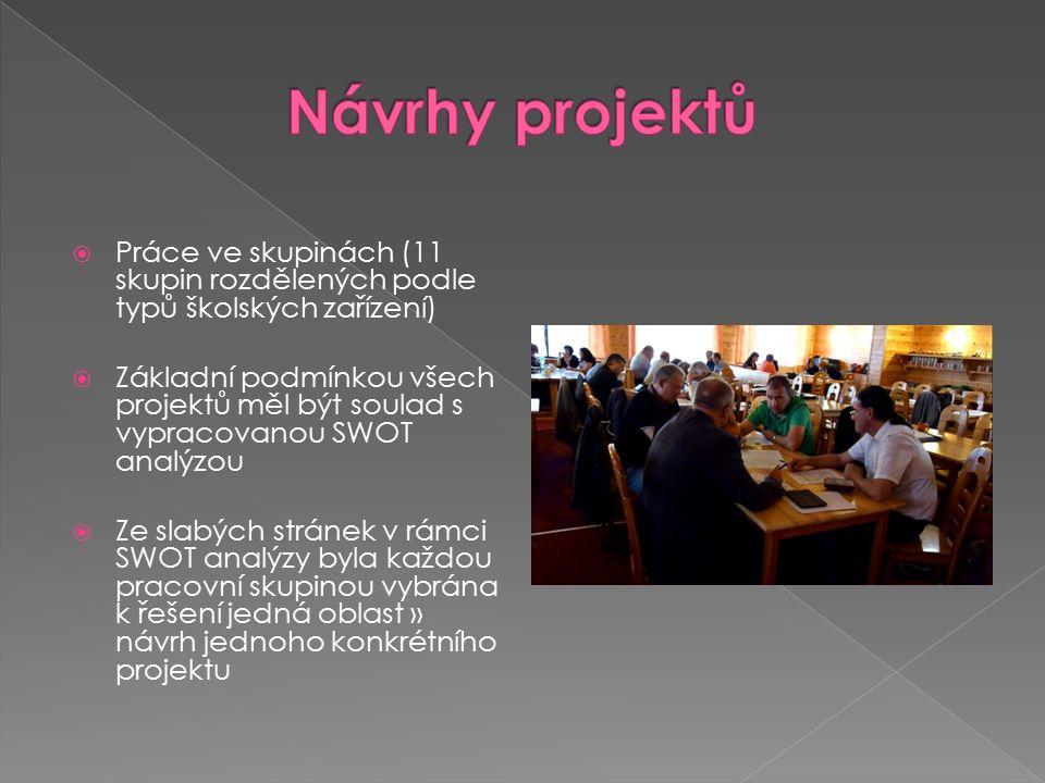  Práce ve skupinách (11 skupin rozdělených podle typů školských zařízení)  Základní podmínkou všech projektů měl být soulad s vypracovanou SWOT analýzou  Ze slabých stránek v rámci SWOT analýzy byla každou pracovní skupinou vybrána k řešení jedná oblast » návrh jednoho konkrétního projektu