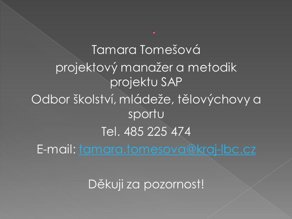 Tamara Tomešová projektový manažer a metodik projektu SAP Odbor školství, mládeže, tělovýchovy a sportu Tel.
