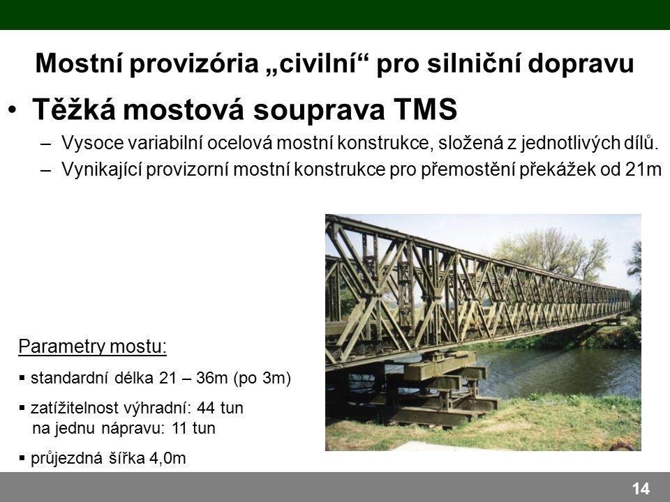 """Mostní provizória """"civilní pro silniční dopravu Těžká mostová souprava TMS –Vysoce variabilní ocelová mostní konstrukce, složená z jednotlivých dílů."""