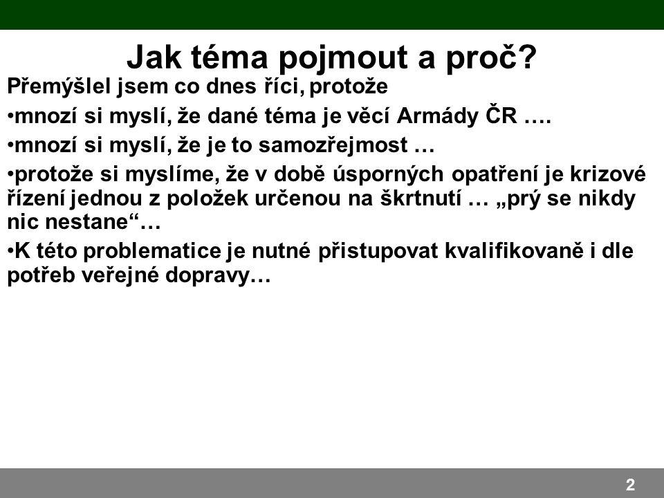 Přemýšlel jsem co dnes říci, protože mnozí si myslí, že dané téma je věcí Armády ČR ….