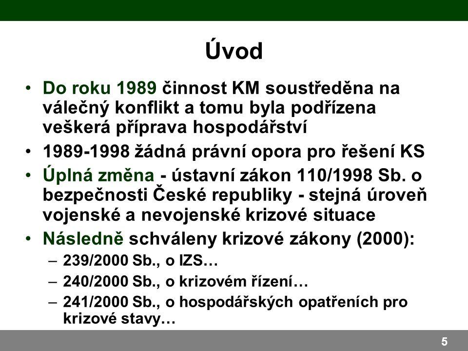 Do roku 1989 činnost KM soustředěna na válečný konflikt a tomu byla podřízena veškerá příprava hospodářství 1989-1998 žádná právní opora pro řešení KS Úplná změna - ústavní zákon 110/1998 Sb.