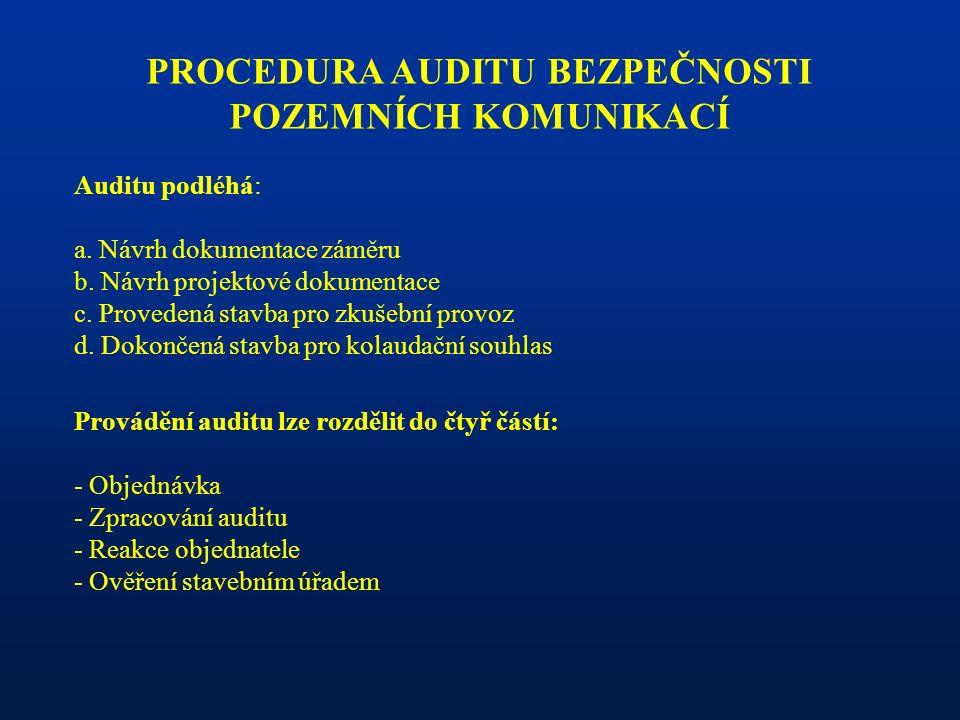 PROCEDURA AUDITU BEZPEČNOSTI POZEMNÍCH KOMUNIKACÍ Auditu podléhá: a.
