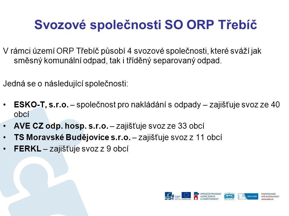 Svozové společnosti SO ORP Třebíč V rámci území ORP Třebíč působí 4 svozové společnosti, které sváží jak směsný komunální odpad, tak i tříděný separov