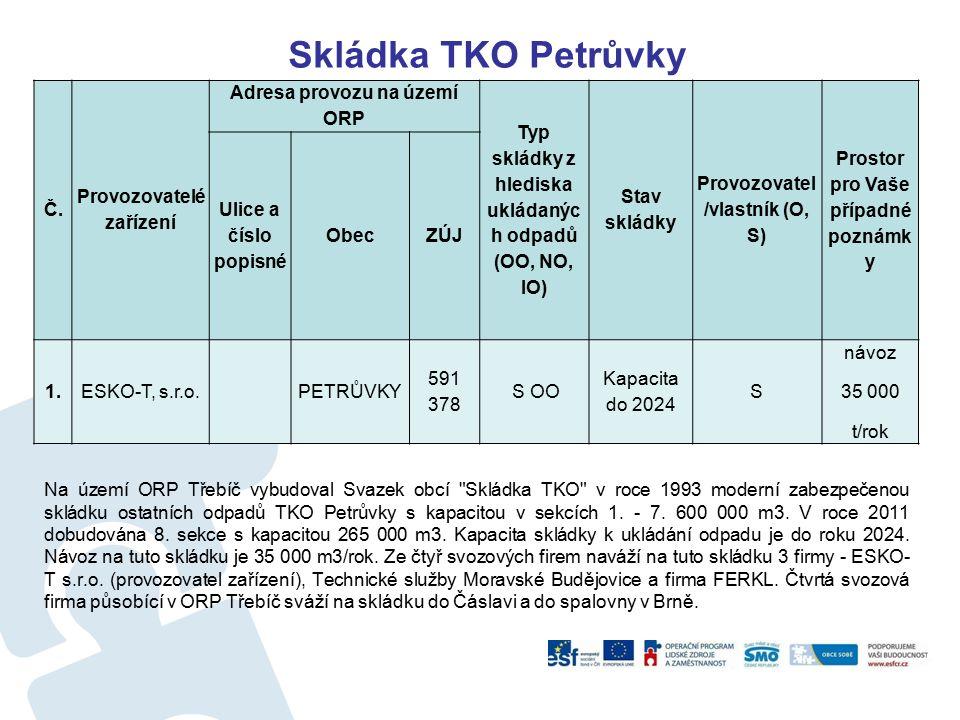 Skládka TKO Petrůvky Na území ORP Třebíč vybudoval Svazek obcí Skládka TKO v roce 1993 moderní zabezpečenou skládku ostatních odpadů TKO Petrůvky s kapacitou v sekcích 1.