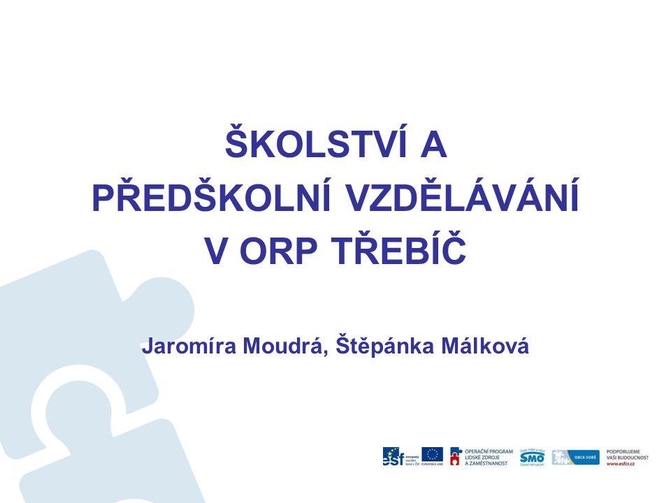 Školní a předškolní vzdělávání v ORP Třebíč Zřizovatelobeckrajcírkevsoukr.Celkem MŠ50151 ZŠ35136 Gymnázium112 ZUŠ22 SVČ11