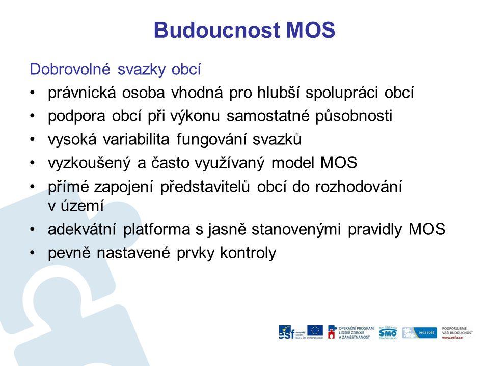 Budoucnost MOS Dobrovolné svazky obcí právnická osoba vhodná pro hlubší spolupráci obcí podpora obcí při výkonu samostatné působnosti vysoká variabilita fungování svazků vyzkoušený a často využívaný model MOS přímé zapojení představitelů obcí do rozhodování v území adekvátní platforma s jasně stanovenými pravidly MOS pevně nastavené prvky kontroly
