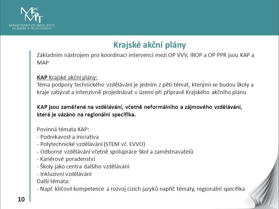 10 Krajské akční plány Základním nástrojem pro koordinaci intervencí mezi OP VVV, IROP a OP PPR jsou KAP a MAP KAP Krajské akční plány: Téma podpory t