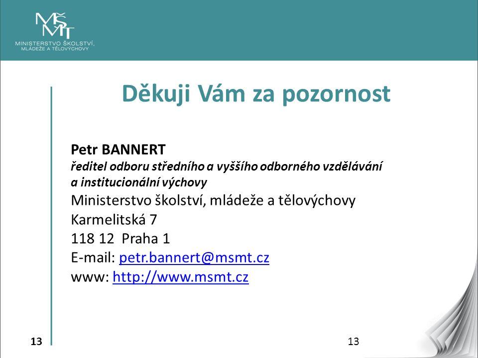 13 Petr BANNERT ředitel odboru středního a vyššího odborného vzdělávání a institucionální výchovy Ministerstvo školství, mládeže a tělovýchovy Karmeli