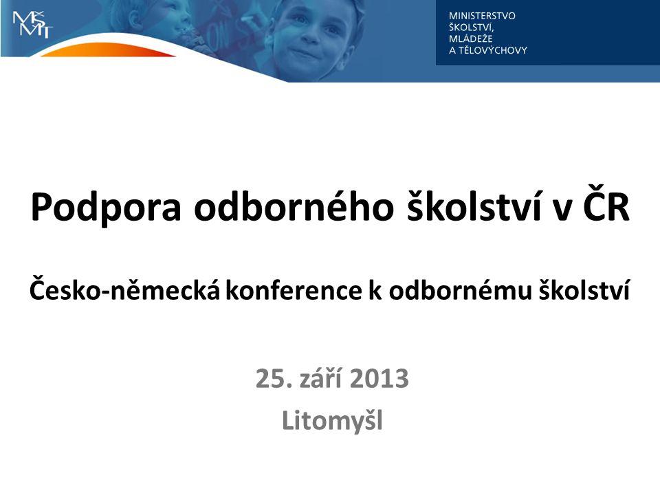 Podpora odborného školství v ČR Česko-německá konference k odbornému školství 25. září 2013 Litomyšl