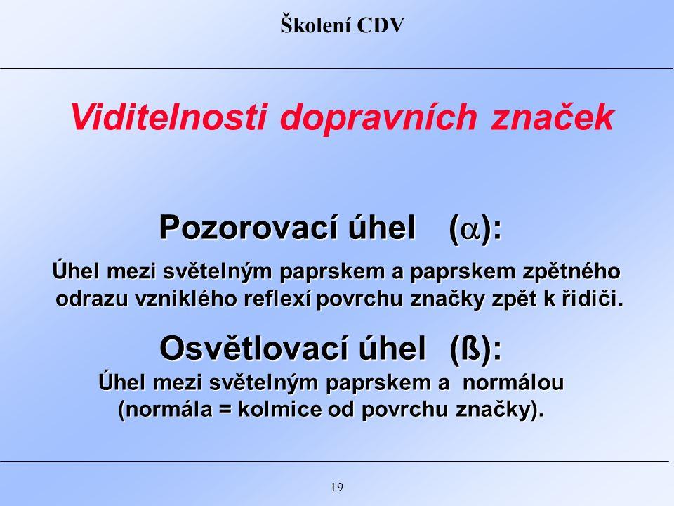 Školení CDV 19 Pozorovací úhel (  ): Osvětlovací úhel (ß): Úhel mezi světelným paprskem a normálou (normála = kolmice od povrchu značky).