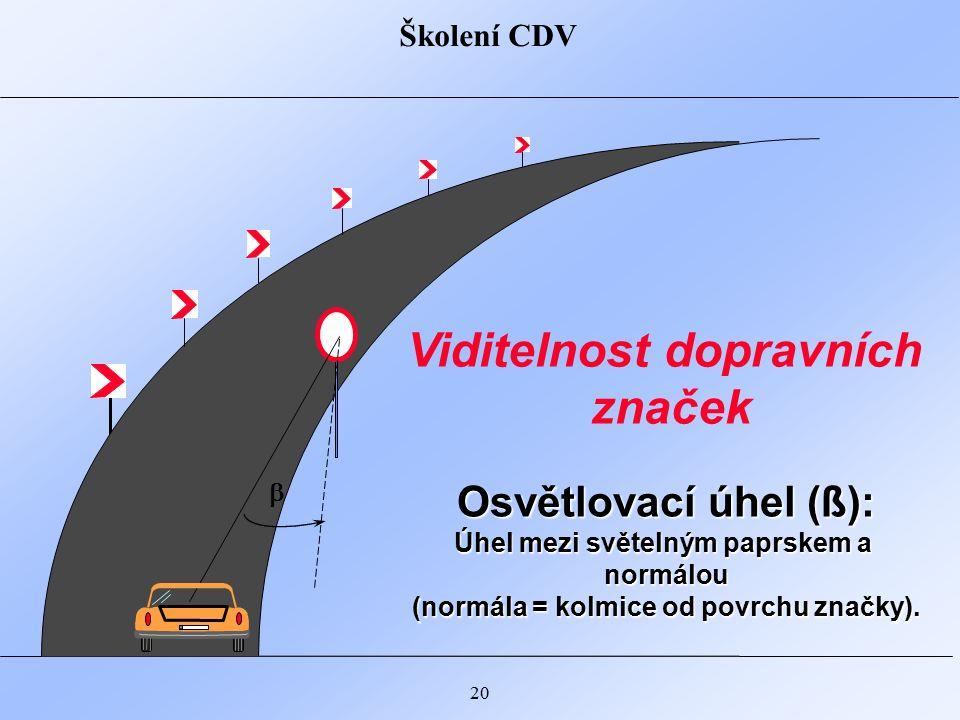 Školení CDV 20  Osvětlovací úhel (ß): Úhel mezi světelným paprskem a normálou (normála = kolmice od povrchu značky).