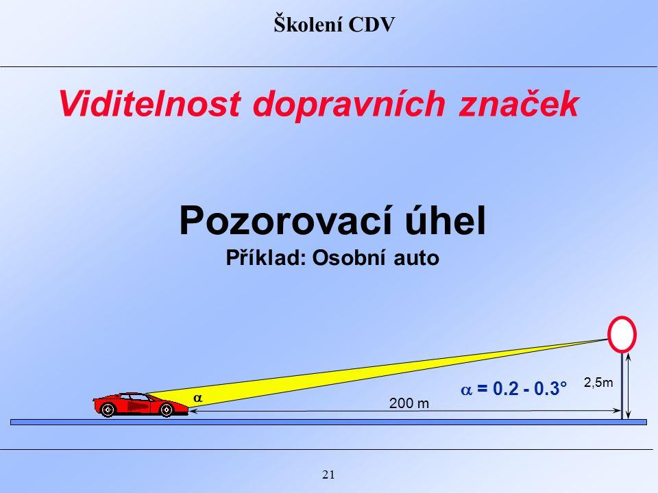 Školení CDV 21 Pozorovací úhel Příklad: Osobní auto Viditelnost dopravních značek  = 0.2 - 0.3° 200 m 2,5m 