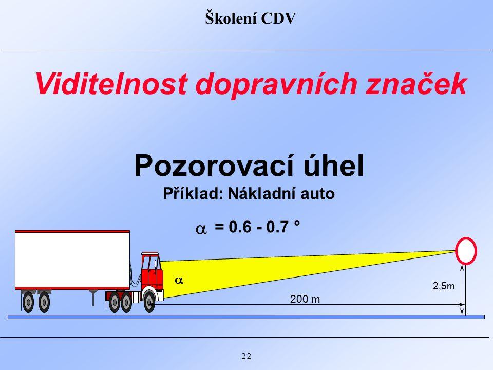 Školení CDV 22 Pozorovací úhel Příklad: Nákladní auto Viditelnost dopravních značek 200 m 2,5m  = 0.6 - 0.7 ° 