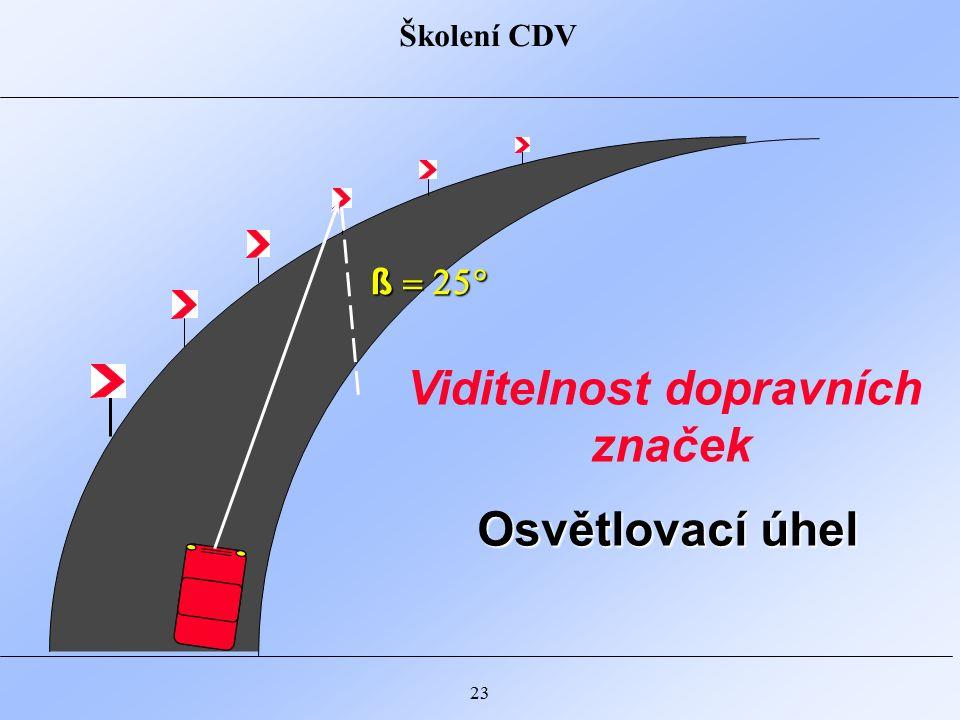 Školení CDV 23 ß  Osvětlovací úhel Viditelnost dopravních značek