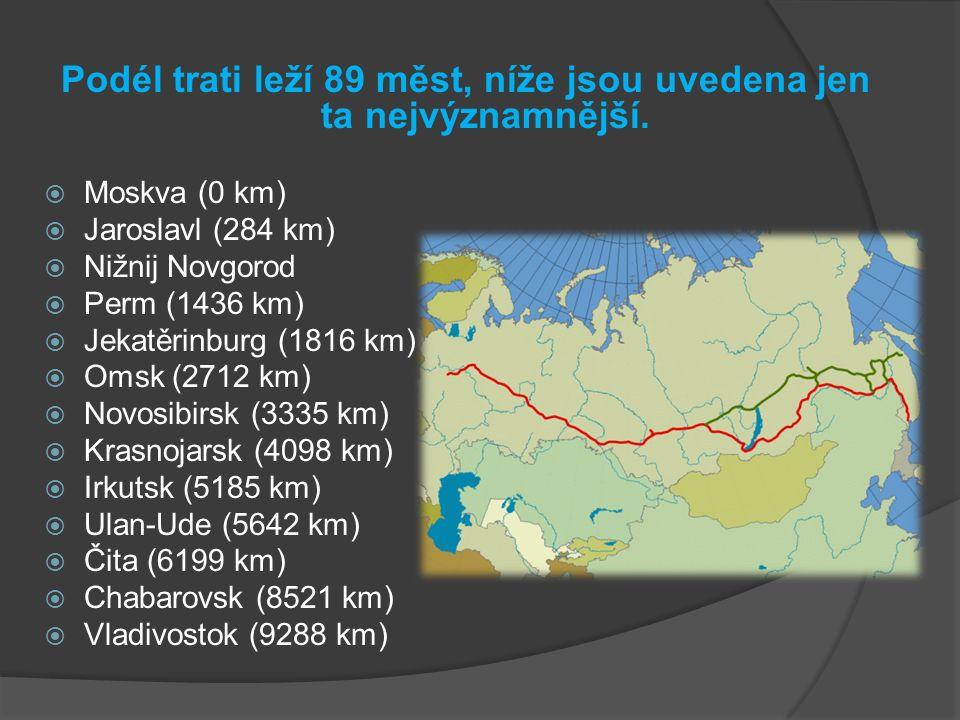 Podél trati leží 89 měst, níže jsou uvedena jen ta nejvýznamnější.  Moskva (0 km)  Jaroslavl (284 km)  Nižnij Novgorod  Perm (1436 km)  Jekatěrin