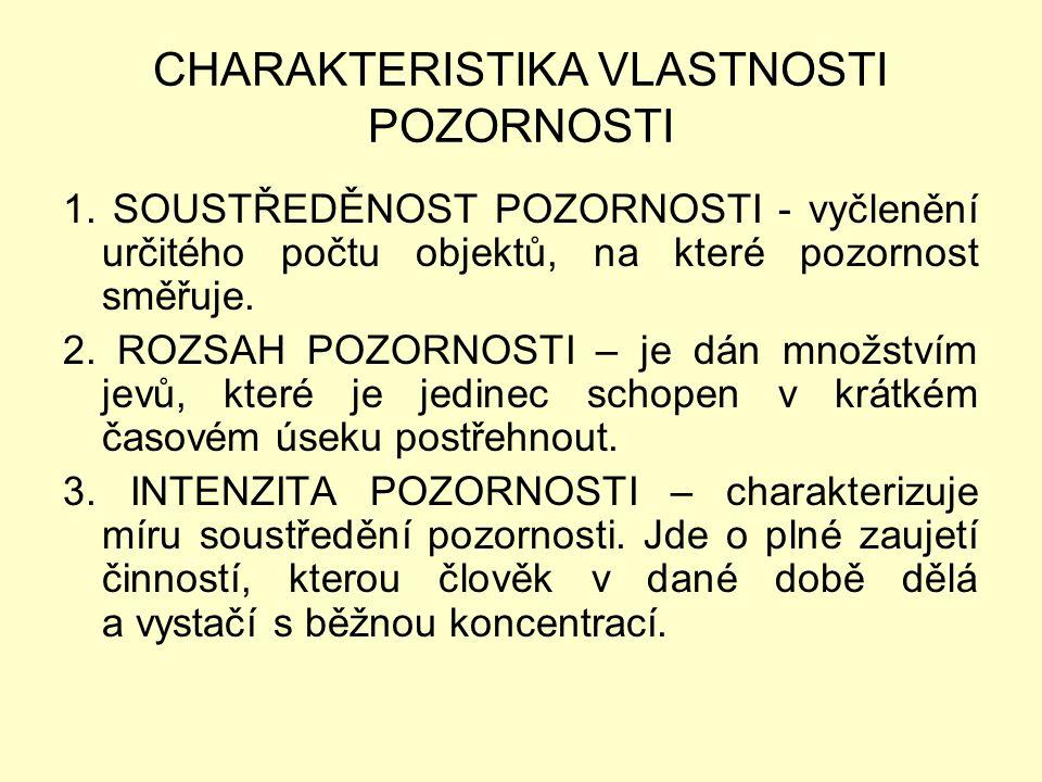 CHARAKTERISTIKA VLASTNOSTI POZORNOSTI 1.