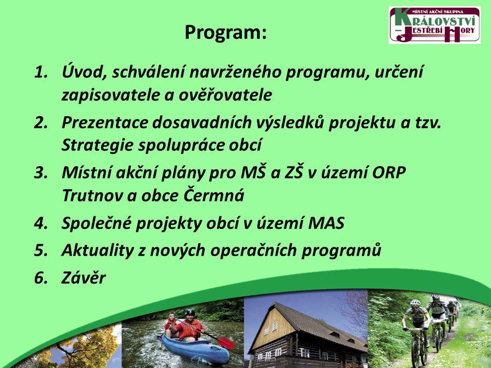 Program: 1.Úvod, schválení navrženého programu, určení zapisovatele a ověřovatele 2.Prezentace dosavadních výsledků projektu a tzv.