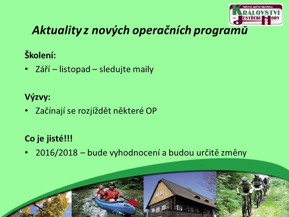 Aktuality z nových operačních programů Školení: Září – listopad – sledujte maily Výzvy: Začínají se rozjíždět některé OP Co je jisté!!.