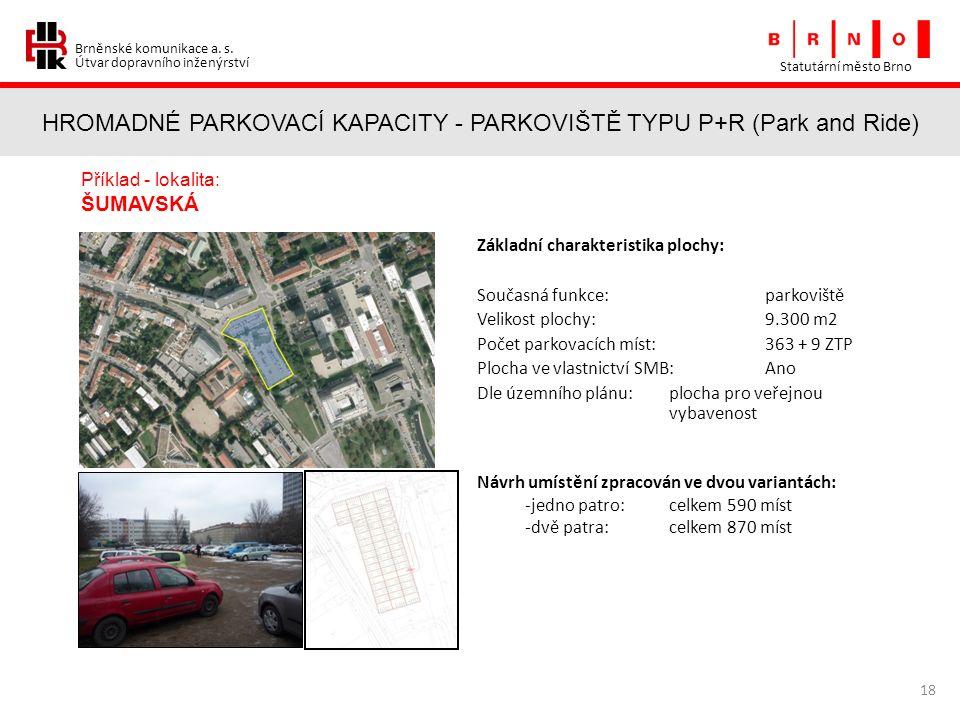 Brněnské komunikace a. s. Útvar dopravního inženýrství HROMADNÉ PARKOVACÍ KAPACITY - PARKOVIŠTĚ TYPU P+R (Park and Ride) Statutární město Brno 18 Přík