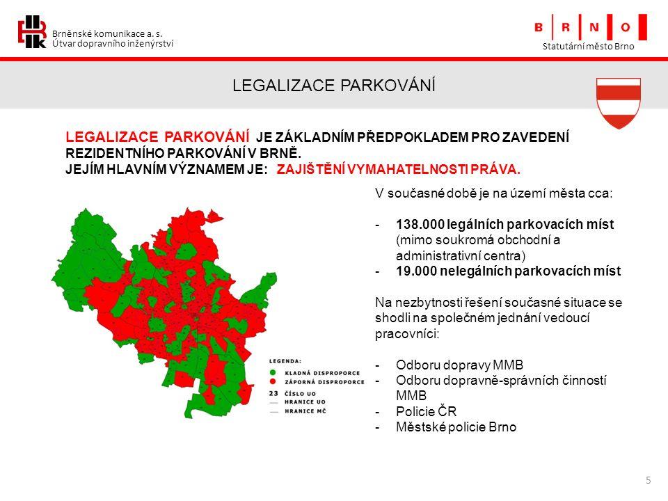 Brněnské komunikace a. s. Útvar dopravního inženýrství LEGALIZACE PARKOVÁNÍ Statutární město Brno 5 LEGALIZACE PARKOVÁNÍ JE ZÁKLADNÍM PŘEDPOKLADEM PRO