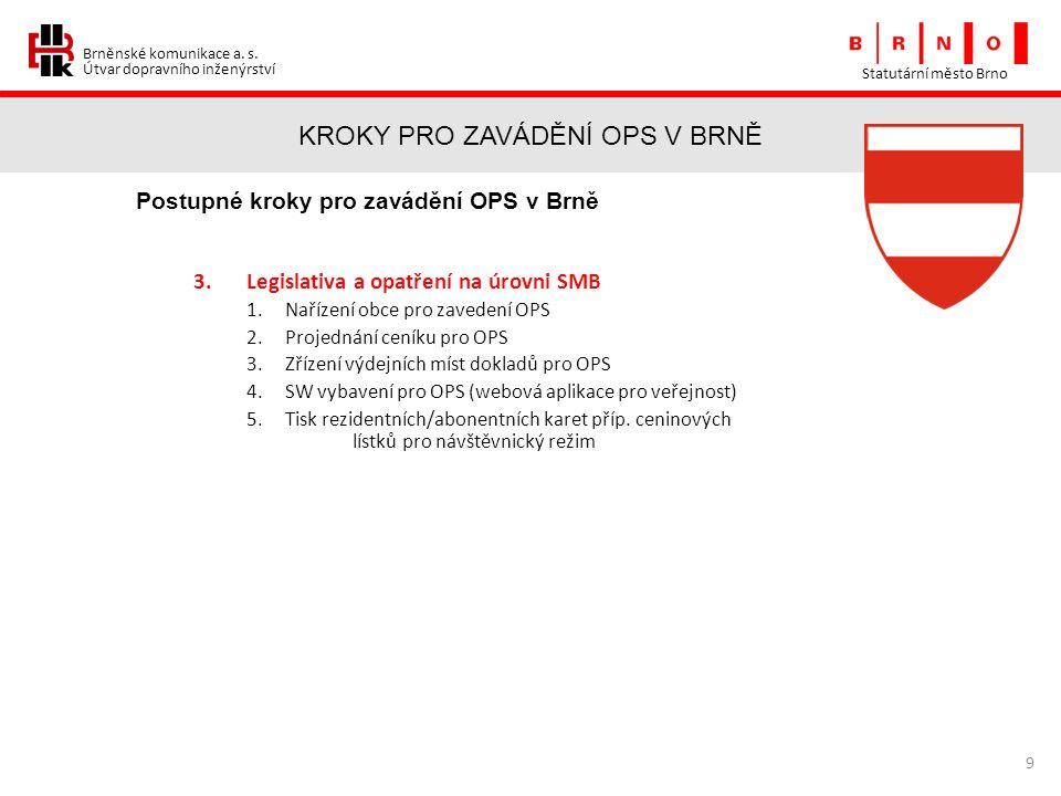 Brněnské komunikace a. s. Útvar dopravního inženýrství KROKY PRO ZAVÁDĚNÍ OPS V BRNĚ Statutární město Brno 9 Postupné kroky pro zavádění OPS v Brně 3.