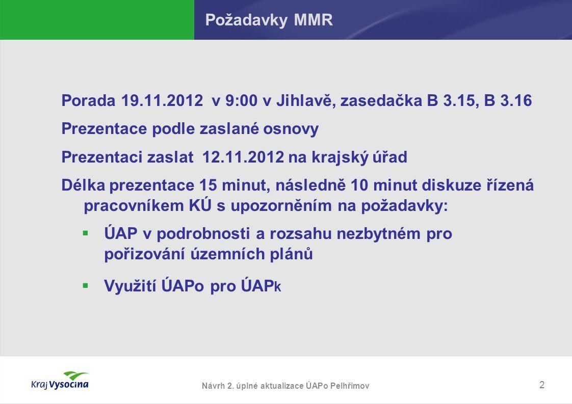 2 Požadavky MMR Porada 19.11.2012 v 9:00 v Jihlavě, zasedačka B 3.15, B 3.16 Prezentace podle zaslané osnovy Prezentaci zaslat 12.11.2012 na krajský úřad Délka prezentace 15 minut, následně 10 minut diskuze řízená pracovníkem KÚ s upozorněním na požadavky:  ÚAP v podrobnosti a rozsahu nezbytném pro pořizování územních plánů  Využití ÚAPo pro ÚAP k Návrh 2.
