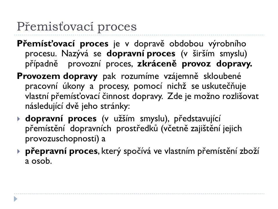 Přemisťovací proces Přemísťovací proces je v dopravě obdobou výrobního procesu. Nazývá se dopravní proces (v širším smyslu) případně provozní proces,