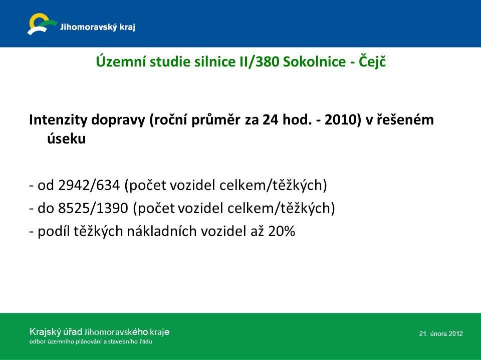 Územní studie silnice II/380 Sokolnice - Čejč Intenzity dopravy (roční průměr za 24 hod. - 2010) v řešeném úseku - od 2942/634 (počet vozidel celkem/t
