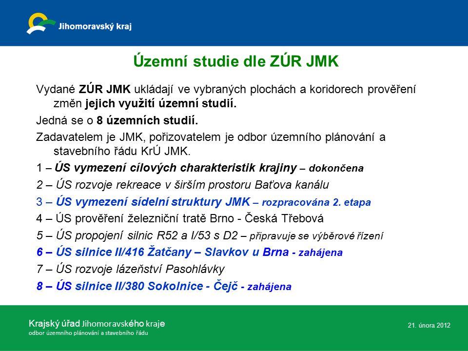 Vydané ZÚR JMK ukládají ve vybraných plochách a koridorech prověření změn jejich využití územní studií. Jedná se o 8 územních studií. Zadavatelem je J