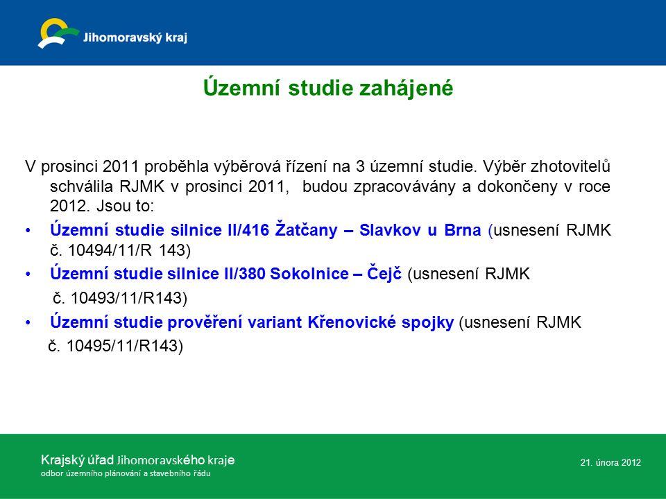 V prosinci 2011 proběhla výběrová řízení na 3 územní studie.