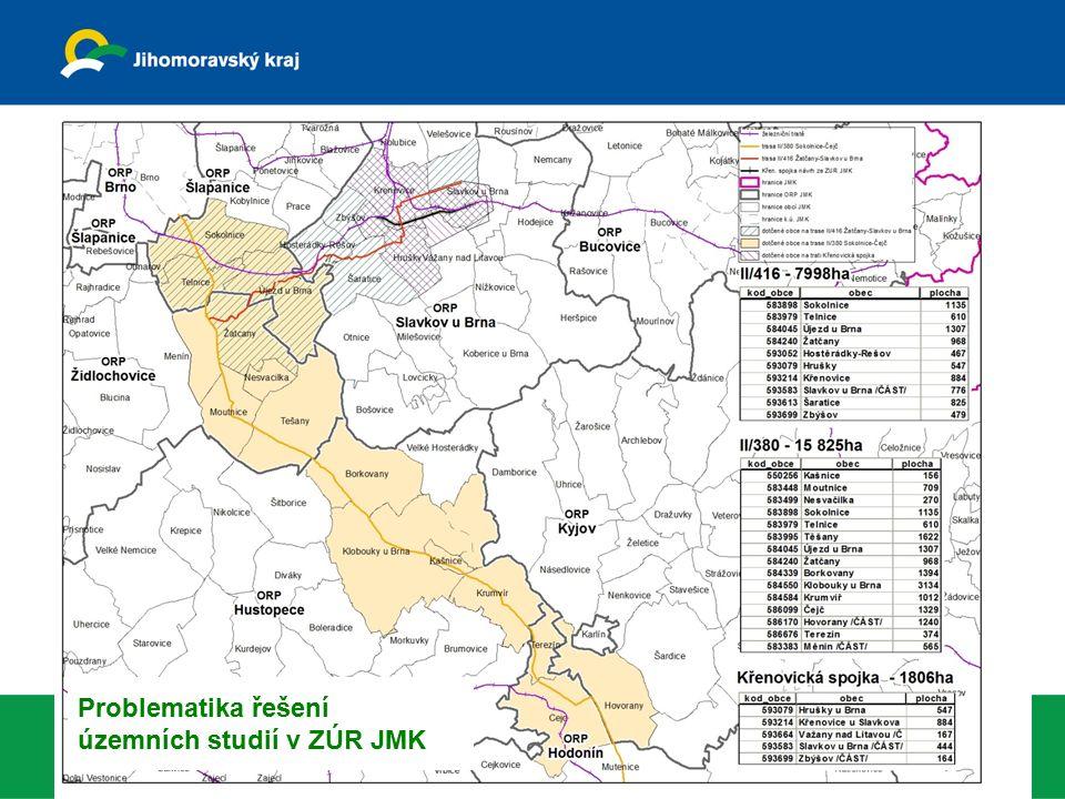 8 Krajský úřad Jihomoravsk ého kraj e odbor územního plánování a stavebního řádu 14. února 2012 Problematika řešení územních studií v ZÚR JMK