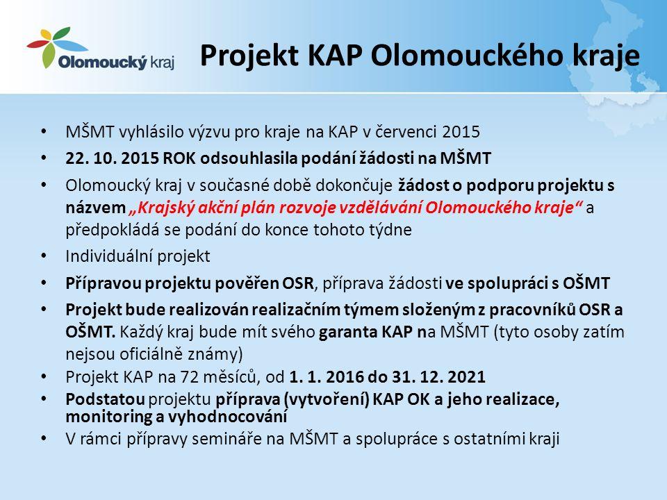 Projekt KAP Olomouckého kraje MŠMT vyhlásilo výzvu pro kraje na KAP v červenci 2015 22.