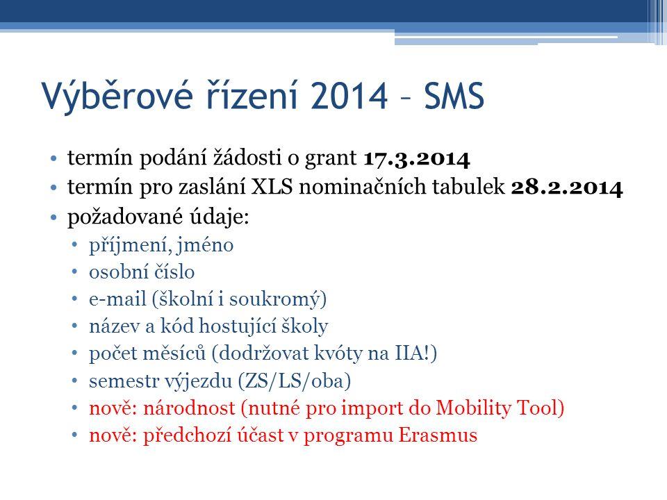 Výběrové řízení 2014 – SMS termín podání žádosti o grant 17.3.2014 termín pro zaslání XLS nominačních tabulek 28.2.2014 požadované údaje: příjmení, jméno osobní číslo e-mail (školní i soukromý) název a kód hostující školy počet měsíců (dodržovat kvóty na IIA!) semestr výjezdu (ZS/LS/oba) nově: národnost (nutné pro import do Mobility Tool) nově: předchozí účast v programu Erasmus