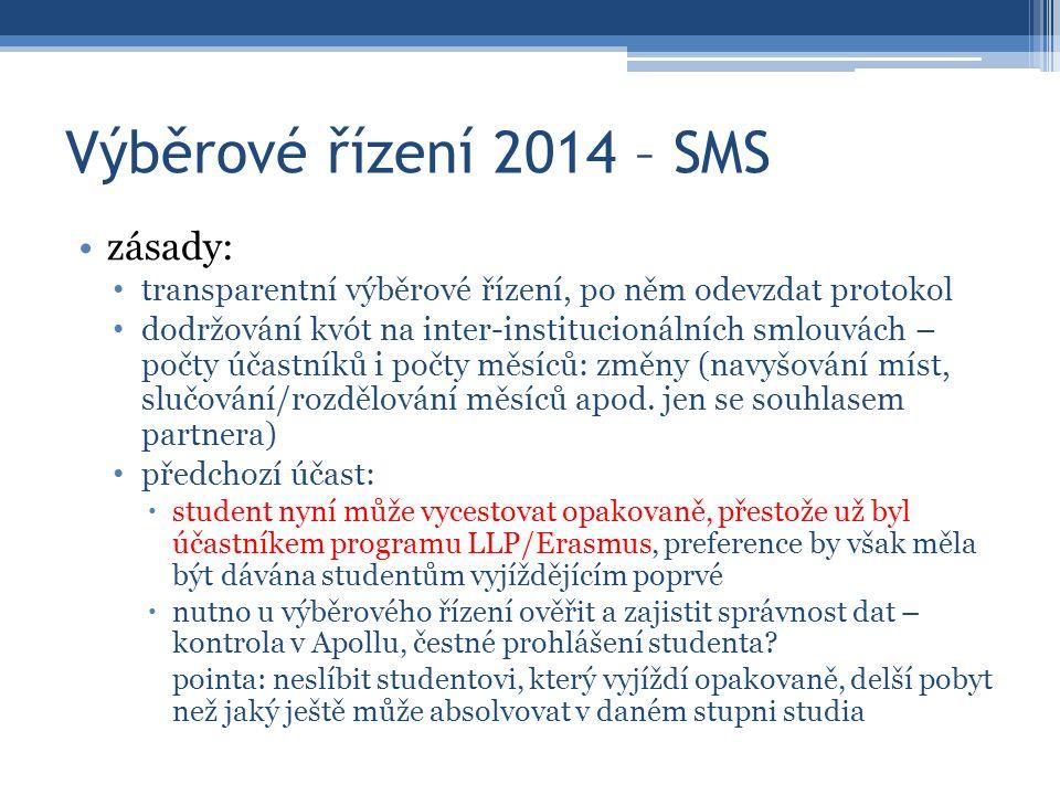 Výběrové řízení 2014 – SMS zásady: transparentní výběrové řízení, po něm odevzdat protokol dodržování kvót na inter-institucionálních smlouvách – počt