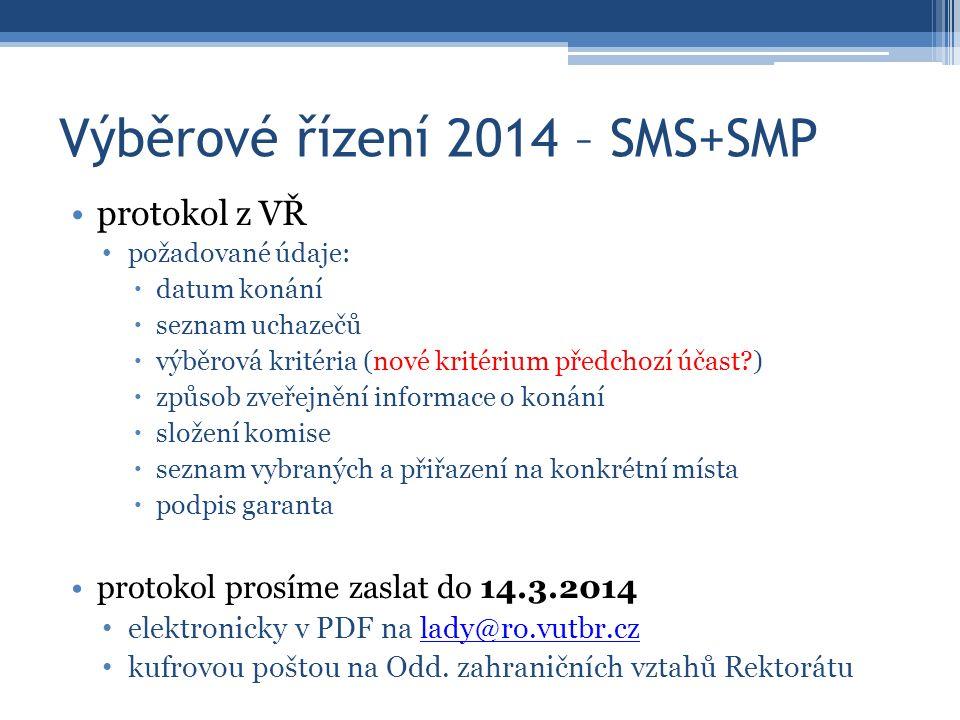Výběrové řízení 2014 – SMS+SMP protokol z VŘ požadované údaje:  datum konání  seznam uchazečů  výběrová kritéria (nové kritérium předchozí účast )  způsob zveřejnění informace o konání  složení komise  seznam vybraných a přiřazení na konkrétní místa  podpis garanta protokol prosíme zaslat do 14.3.2014 elektronicky v PDF na lady@ro.vutbr.czlady@ro.vutbr.cz kufrovou poštou na Odd.