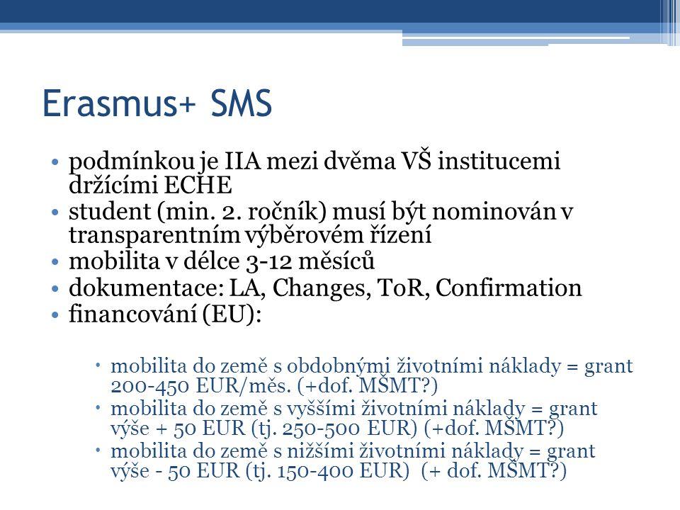 Erasmus+ SMS podmínkou je IIA mezi dvěma VŠ institucemi držícími ECHE student (min. 2. ročník) musí být nominován v transparentním výběrovém řízení mo