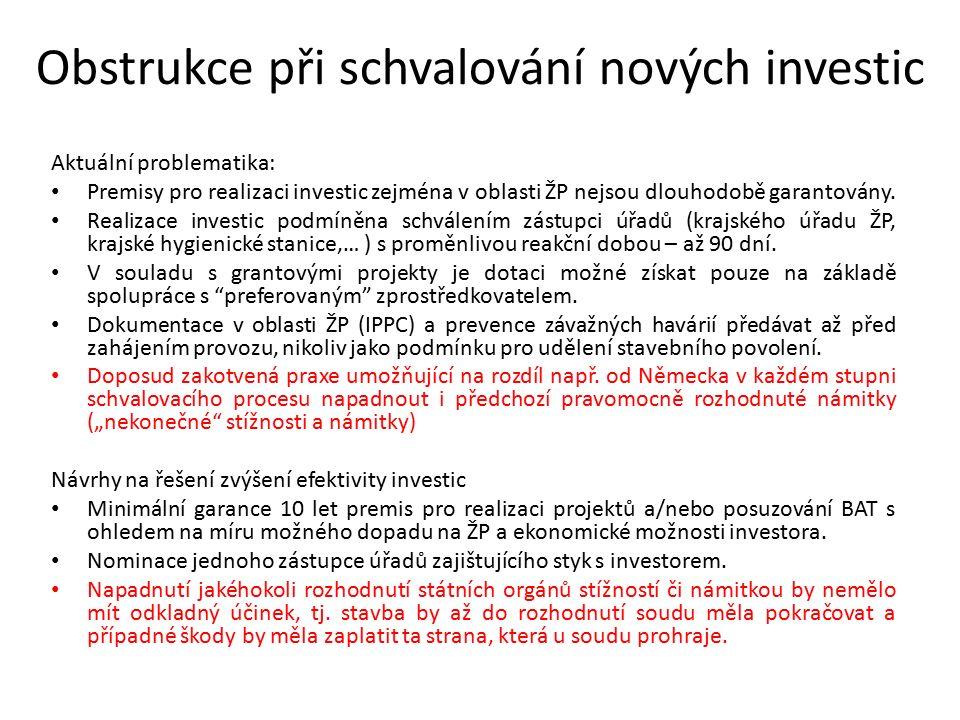 Obstrukce při schvalování nových investic Aktuální problematika: Premisy pro realizaci investic zejména v oblasti ŽP nejsou dlouhodobě garantovány.