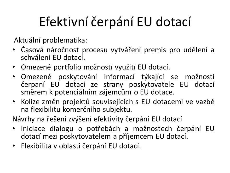 Efektivní čerpání EU dotací Aktuální problematika: Časová náročnost procesu vytváření premis pro udělení a schválení EU dotací.
