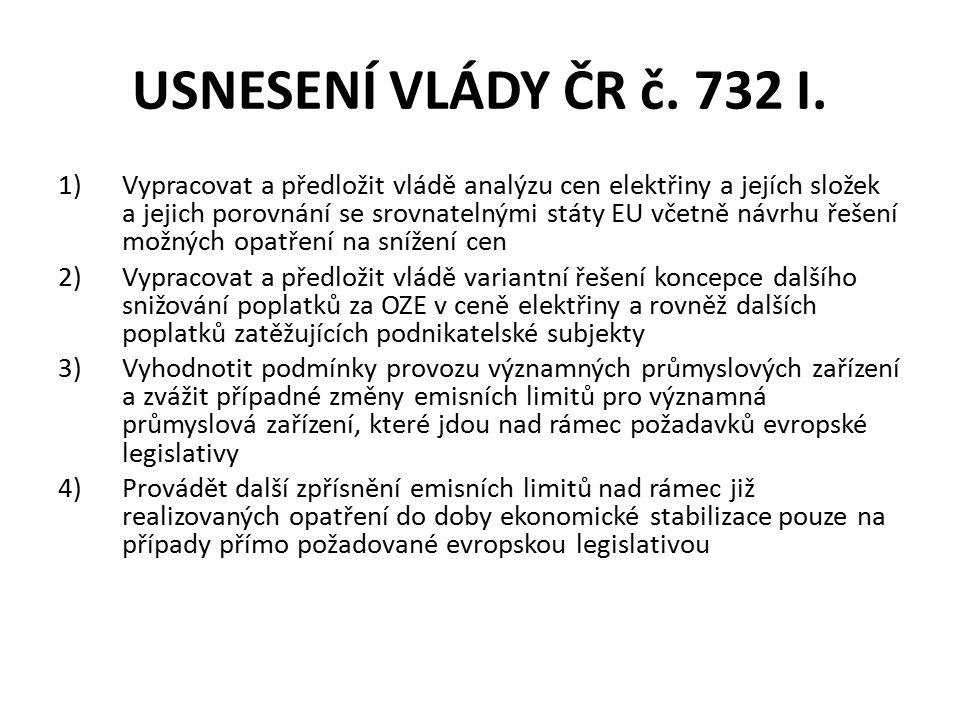 USNESENÍ VLÁDY ČR č. 732 I.