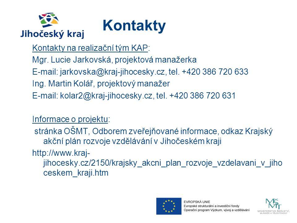 Kontakty Kontakty na realizační tým KAP: Mgr. Lucie Jarkovská, projektová manažerka E-mail: jarkovska@kraj-jihocesky.cz, tel. +420 386 720 633 Ing. Ma