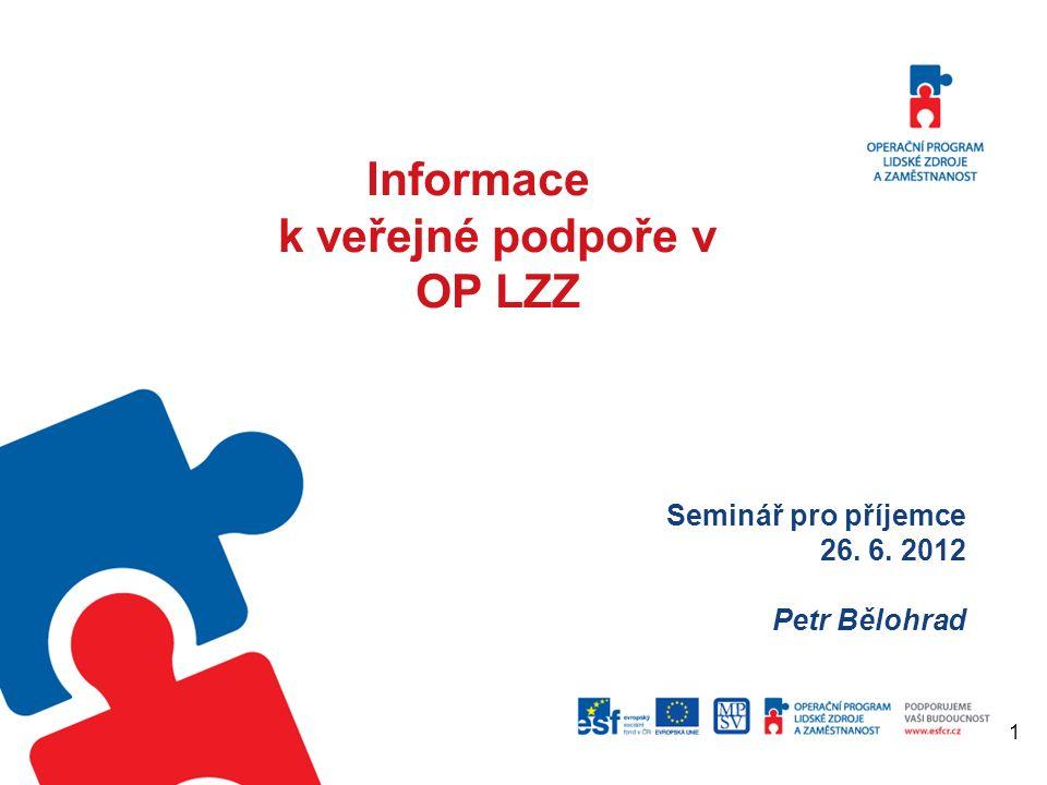 Seminář na správné zpracování Monitorovacích zpráv Informace k veřejné podpoře v OP LZZ Seminář pro příjemce 26.