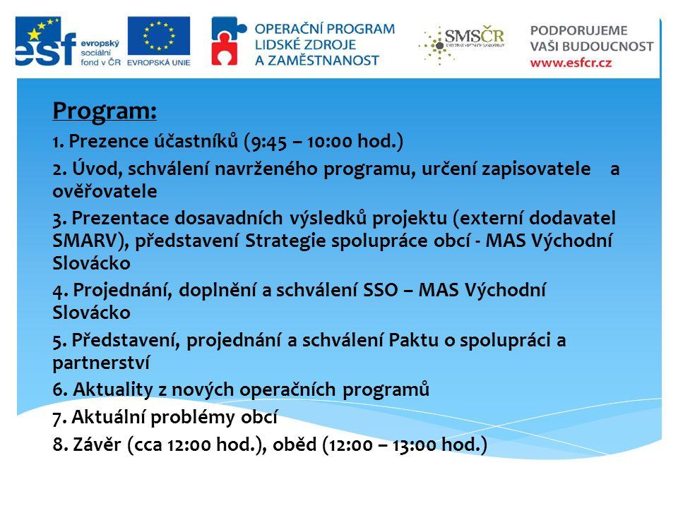 Program: 1. Prezence účastníků (9:45 – 10:00 hod.) 2.
