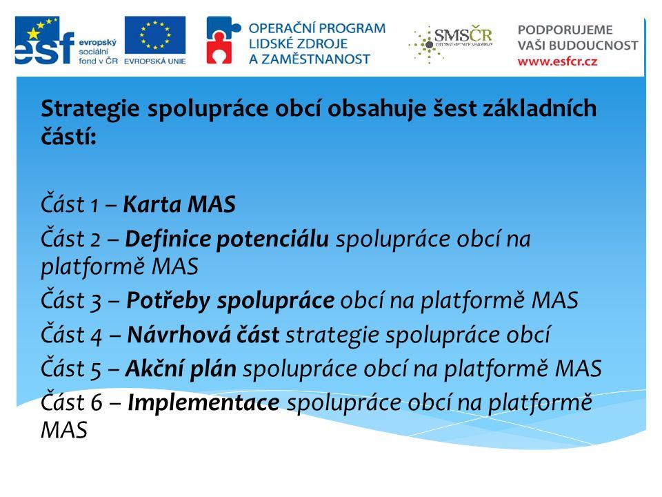 Strategie spolupráce obcí obsahuje šest základních částí: Část 1 – Karta MAS Část 2 – Definice potenciálu spolupráce obcí na platformě MAS Část 3 – Potřeby spolupráce obcí na platformě MAS Část 4 – Návrhová část strategie spolupráce obcí Část 5 – Akční plán spolupráce obcí na platformě MAS Část 6 – Implementace spolupráce obcí na platformě MAS