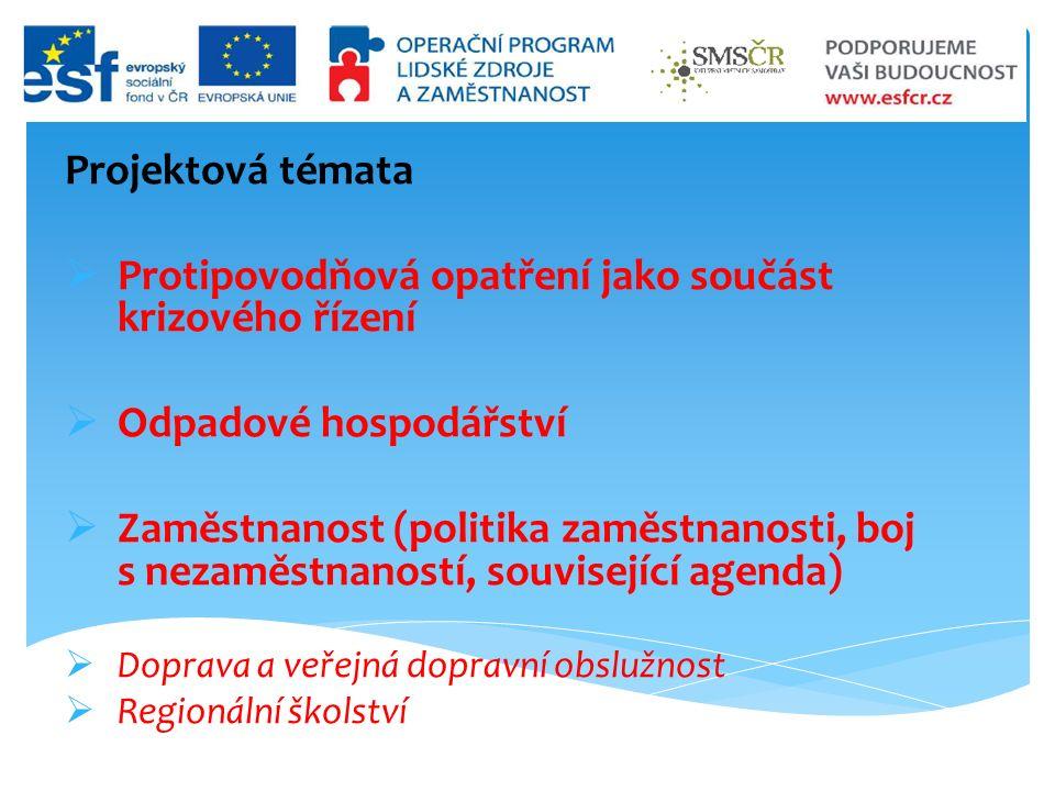 Projektová témata  Protipovodňová opatření jako součást krizového řízení  Odpadové hospodářství  Zaměstnanost (politika zaměstnanosti, boj s nezaměstnaností, související agenda)  Doprava a veřejná dopravní obslužnost  Regionální školství