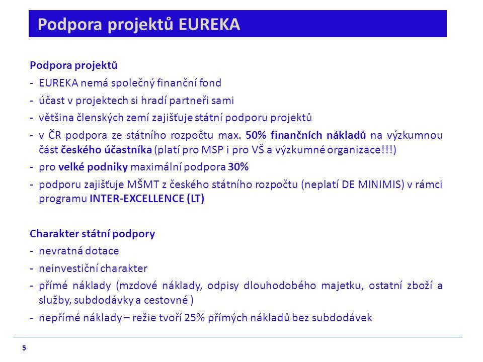 5 Podpora projektů EUREKA Podpora projektů - EUREKA nemá společný finanční fond - účast v projektech si hradí partneři sami - většina členských zemí zajišťuje státní podporu projektů -v ČR podpora ze státního rozpočtu max.
