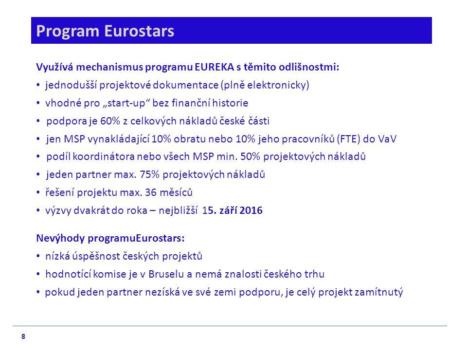 """8 Program Eurostars Využívá mechanismus programu EUREKA s těmito odlišnostmi: jednodušší projektové dokumentace (plně elektronicky) vhodné pro """"start-"""