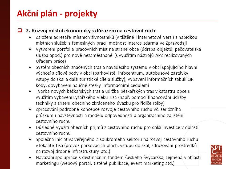 Akční plán - projekty  2. Rozvoj místní ekonomiky s důrazem na cestovní ruch: Založení adresáře místních živnostníků (v tištěné i internetové verzi)